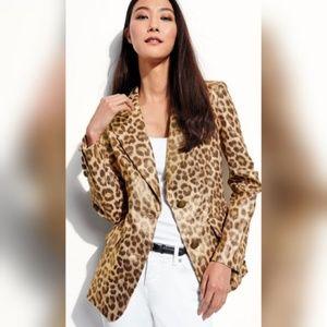 Berek Neiman Marcus metallic leopard blazer small